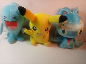 "Tomy Pokemon Lot Of 3 Plush Toys: Pikachu 9"", Manaphy 8"" & Wobbuffet 8"""