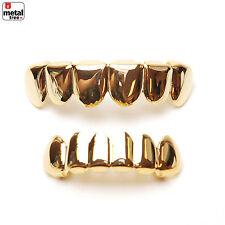 Hip Hop GRILLZ SET 14K IP Gold Plated Top & Bottom Plain Mouth Cap Teeth LS001 G