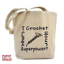 Crochet Tote Bag, mi all'uncinetto, qual è il tuo superpotere? Shopping Bag, Borsa per la vita.