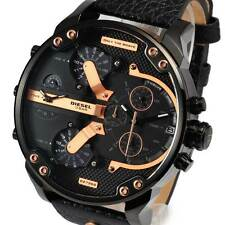 New DIESEL Mens Watch Mr Daddy 2.0 Black Leather Rosegold Chronograph DZ7350