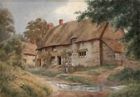 WILLIAM FREDERICK CASWELL Victorian Watercolour Painting COTTAGES AT SHENTON