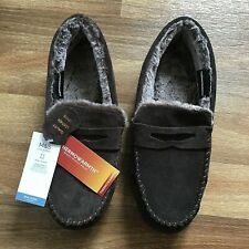 Mens M&S Thermowarmth Suede Moccasins Slippers 8 UK, Brand New With Tags