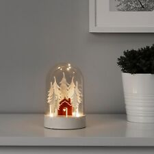 Ikea STRALA LED Table Decoration Battery Operated Cabin Forest White/Red - NEW