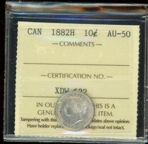 1882 H Canada Ten Cents - ICCS AU-50 - XDW622