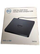 Dell DW316 External Compact USB Slim DVD +/- RW Optical Drive Windows 7/8/8.1/10