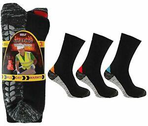 6 Pairs Mens Self Heating Thermal Cushioned Work Boot Socks Tourmaline Heat Sole