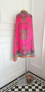 100 % silk Luxury Fuchsia Hot Pink Leopard Print Long Large Neck Shawl Scarf
