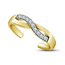 Infinity Adjustable Toe Ring For Womens 14K Yellow Gold Finish Simulated Diamond