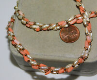 """Twisted Rope Faux Peach coral Biwa Rice Pearl bead 25"""" Necklace 12L 80"""