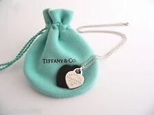 Tiffany & Co Return to Silver Black Onyx Double Heart Necklace Pendant Rare