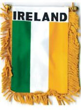 "Ireland Mini Banner Flag 4 x 6"" with Brass Staff & Suction Cup - New"