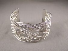 """silver tone braided woven rope style metal bangle cuff 1.5"""" wide bracelet"""