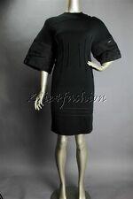 $7500 New CHADO Ralph Rucci Black Wool Stretchy Ribbon Lace Arms Dress 4