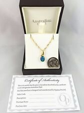 18ct Gold Plated Lightning Ridge Triplet Opal Necklace Pendant w Cert and Chain