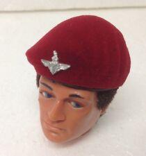 Vintage Action Man ~ Custom Flocked Para Beret ~  paratrooper beret +  badge