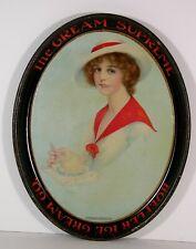 1910s TIN LITHOGRAPH HOFFLER ICE CREAM SODA FOUNTAIN SERVING TRAY PRETTY WOMAN