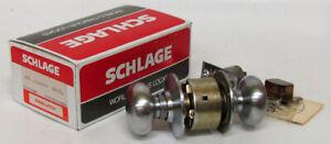 Vintage SCHLAGE A10S PLYMOUTH 626 Satin Chrome Door Knob Passage Set Mid Century