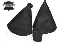 Amarillo Stitch Para Renault Laguna Mk2 Gear Freno De Mano Perilla cubierta en gris oscuro