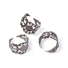 Gunmetal Lead Free Brass Filigree Ring Components Adjustable Ring Base Findings