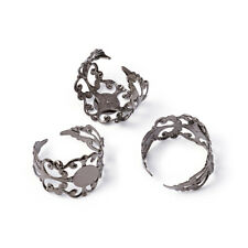 5pcs Brass Ring Components Adjustable Ring Base Findings Black X-KK-H063-B