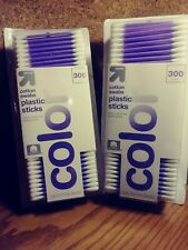 Pack of 2 UP & UP Cotton Swabs 300 Count Each Purple Plastic Sticks