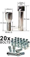 20 X Sintonizador M14 Aleación Rueda Pernos + tecla de estrella VW Golf V Mk V [2003-2009]
