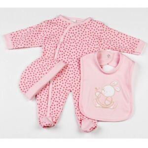 3tlg Set Strampler Schlafanzug Pyjama Mütze Lätzchen Reborn Häschen Rosa 50 56