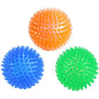 3x Pet Dog Squeaky Chewing Toy Balls Spiky Teeth Cleaning Gum Massage for Small