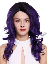 wig Me Up - Perruque pour femme ondulés Raie ombre noir violet