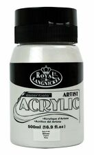 Royal & Langnickel Student Artist 500ml Essentials Acrylic Paint Large Pots Silver