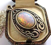 VINTAGE DESIGN SIGNED MIRACLE CELTIC ART NOUVEAU FIRE OPAL GLASS DROP NECKLACE