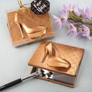 40 Gold High Heel Shoe Design Compact Mirror Wedding Bridal Shower Party Favors