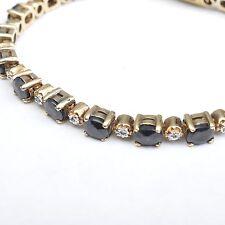 Antico Zaffiro Diamante Braccialetto,Argento placcato oro,16,5 cm,