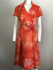 Vintage Carol & Mary Hawaiian Honolulu Wrap  Dress Floral Size 14 Orange    2017
