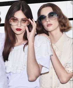 CHLOE QLEO 57mm Oval Semi-Transparent Sunglasses Gr/Aq/Peach MSRP$430 RARE FIND