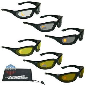 Day Night Transitional Windproof Motorcycle Biker Sport Foam Padded Sunglasses