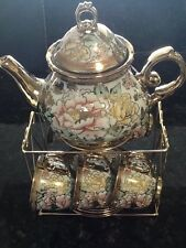 13pc Chinese Tea Sets - Tea Pot & 6 Cups & Saucers with Rack. Multi color ....