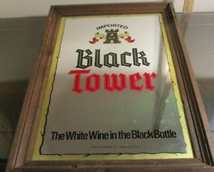 Wine Advertising Mirror Black Tower The White Wine in the Black Bottle