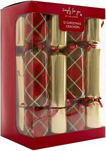 12 Christmas Crackers by Hallmark - 30cm -Luxury Gold & Tartan EXCLUSIVE