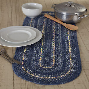 """VHC Brands Farmhouse 36""""x13"""" Table Runner Blue Great Falls Kitchen Table Decor"""