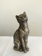 SITTING CAT BRONZE EFFECT RESIN FIGURINE ORNAMENTS NEW GIFT 470009