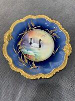 Antique Coronet Limoges France Porcelain Signed MuPlier Cobalt Gold Game Plate 4