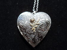 ANTIQUE SILVER ROSE VICTORIAN HEART LOCKET