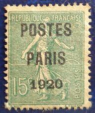 France, préoblitéré n°25, 15c vert-olive Semeuse surchargé Postes Paris 1920
