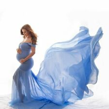 Maternity Photography Prop Cloth Cotton Chiffon Off Shoulder Half Circle Gown