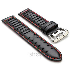 StrapsCo Black w/ Red GT Rally Tropic Perforated Leather Watch Band Mens Strap