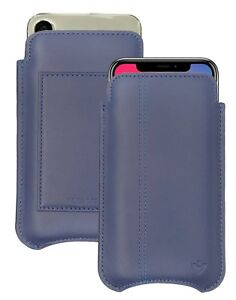 iPhone 11 Pro Case   iPhone Xs Case BLUE Leather NueVue SANITIZING Wallet