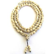 13mm*10mm Howlite Skull Tibet Buddhist 108 Prayer Beads Mala Necklace