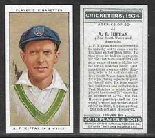 PLAYER'S 1934 CRICKETERS A.F.KIPPAX Card No 44 of 50 CRICKET CIGARETTE CARD