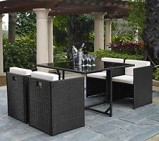 BLACK CUBE RATTAN GARDEN FURNITURE SET CHAIRS TABLE OUTDOOR PATIO UP TO 4 SEATER